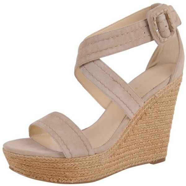 Marc Fisher Haely Wedge Sandal (405541901) ($40) ❤ liked on Polyvore featuring shoes, sandals, beige, crisscross sandals, woven wedge sandals, wedge sandals, braided sandals and marc fisher sandals