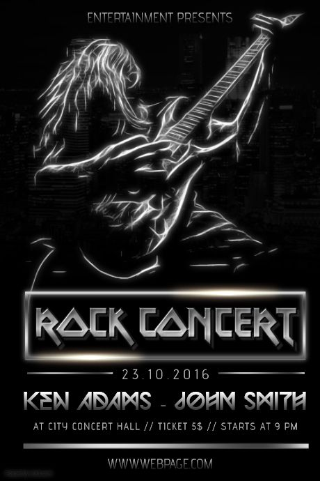 Black Heavy Metal Rock Guitar Concert Poster Flyer Template In