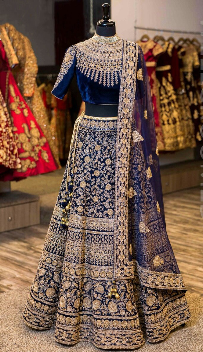 Embroidered lehnga blue in wedding dress pinterest