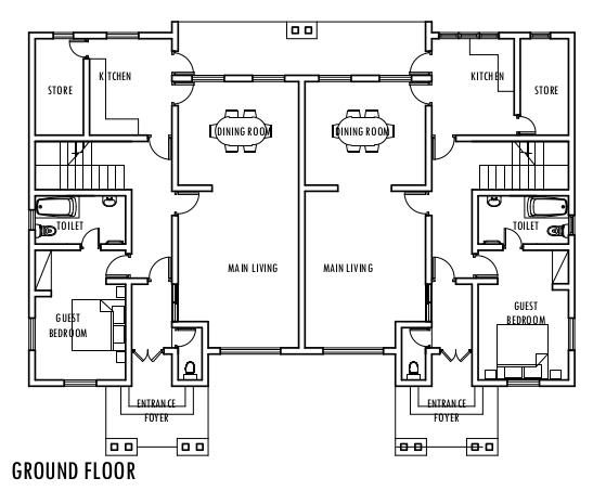 aa1d18218b813a19d1ac18efb510f216 4 bedroom semi detached duplex ground floor plan duplex,Semi Duplex House Plans