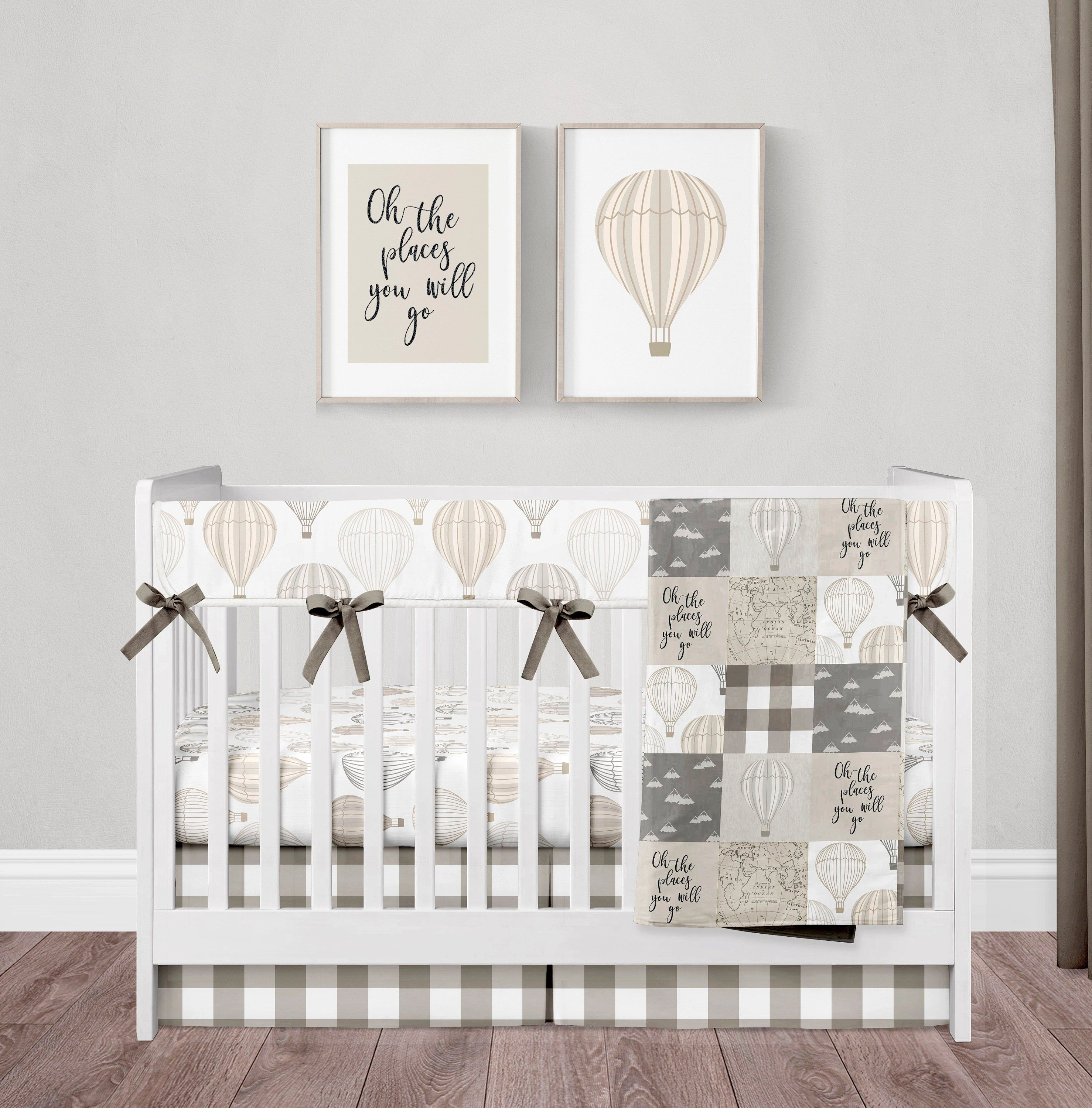 Crib Bedding Set Gender Neutral Hot Air Balloon Oh The Places