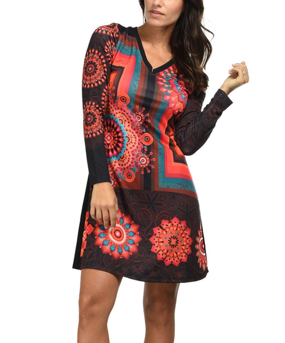 idees black u hot pink geometric vneck dress by idees