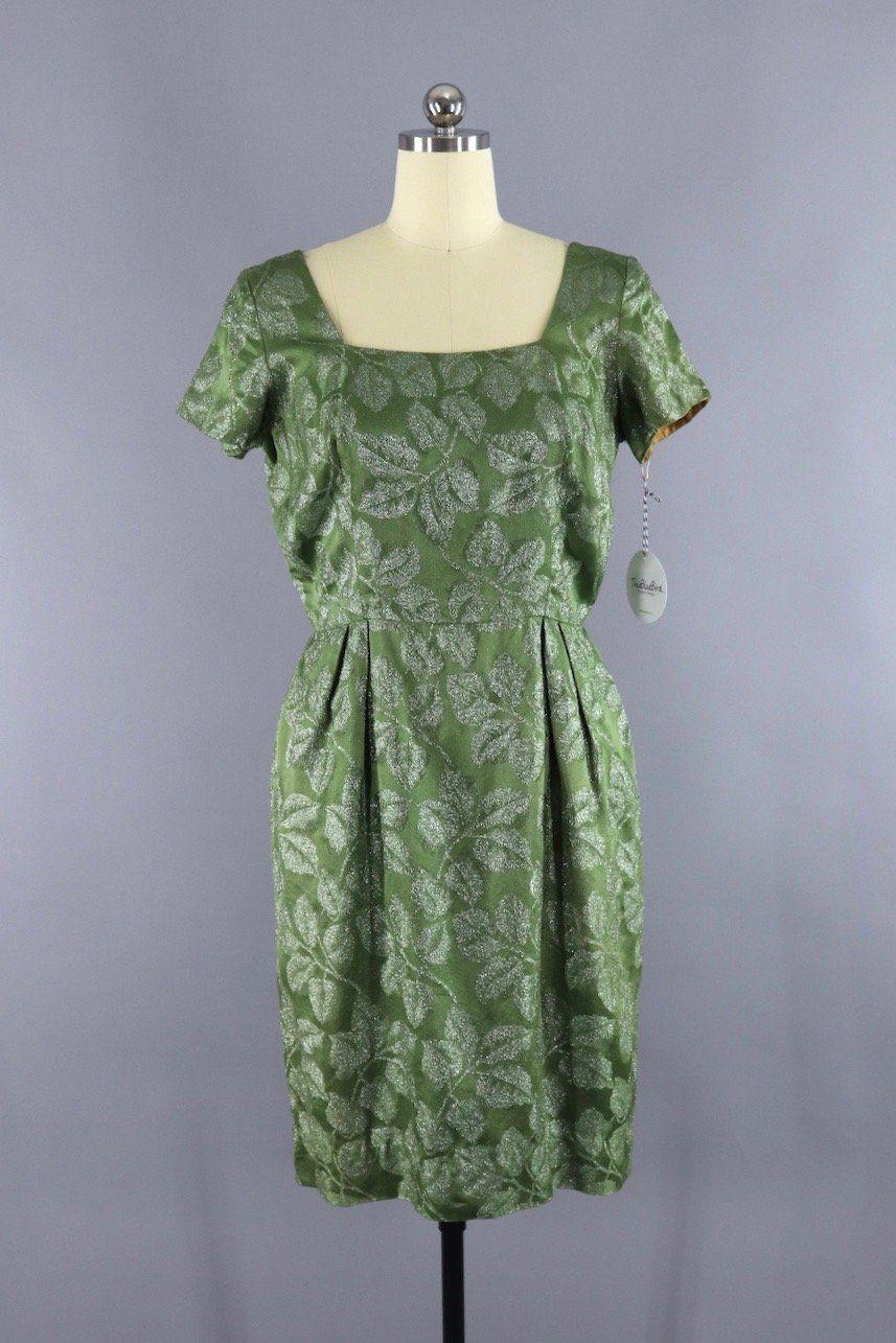 Vintage s olive green silver leaf satin party dress in