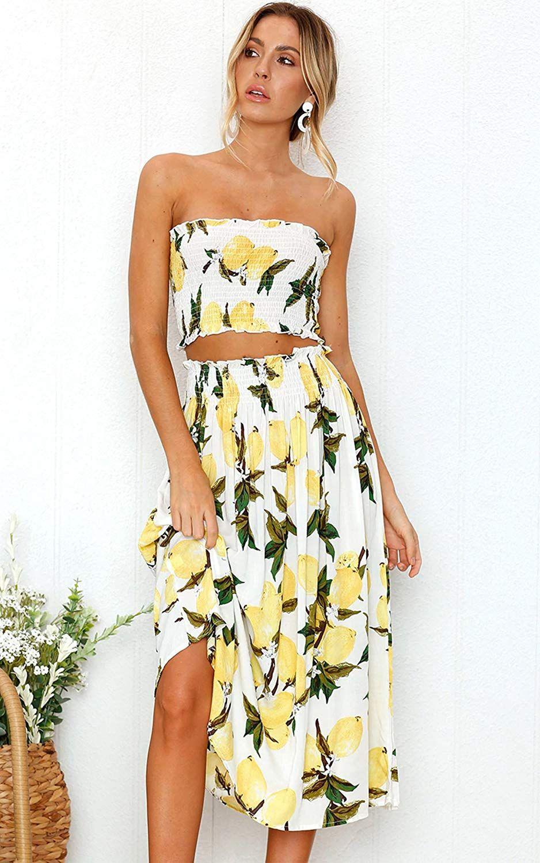 Angashion Women S Floral Crop Top Maxi Skirt Set 2 Piece Outfit