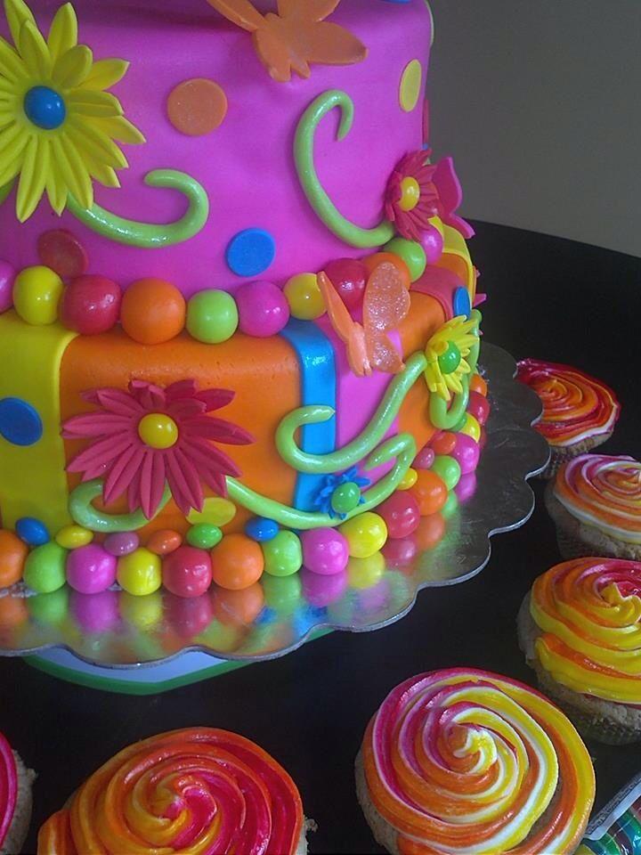 Colorful flower cake TTuttlecakes Tuttle Pinterest Cake