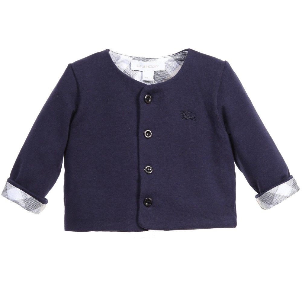 Baby Boys Navy Blue Jersey Cardigan, Burberry | #TOPS #JUMPERS ...