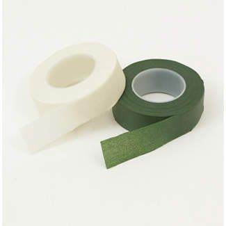 """Floral Stem tape is a strong stretchable tape     that is self-sealing and will not stick to your   fingers. It is the ideal way to create corsages,  bouquets, headpieces, cascades, nosegays or       boutonnieres. Stretch the tape as you wrap it     around fresh, dried or silk flower stems. (1"""" x   30 yard roll. 6 rolls per box)"""