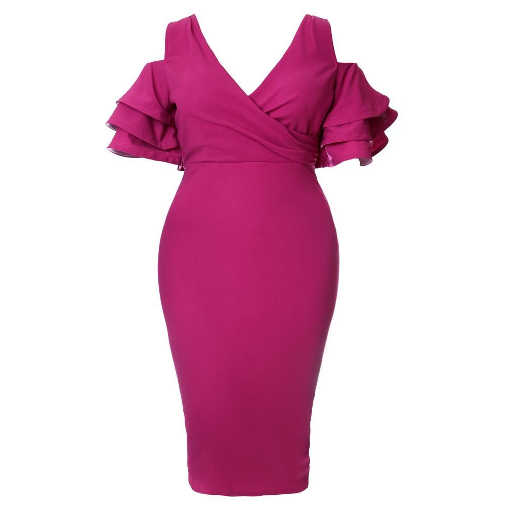 140def0b8c1cb Plus Size Ruffled Cold Shoulder Midi Dress, Berry in 2018   Stuff to ...