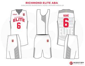 Richmond Elite Aba White Red And Grey Basketball Uniforms Jersey And Shorts Basketball Uniforms Design Custom Basketball Uniforms Basketball Uniforms