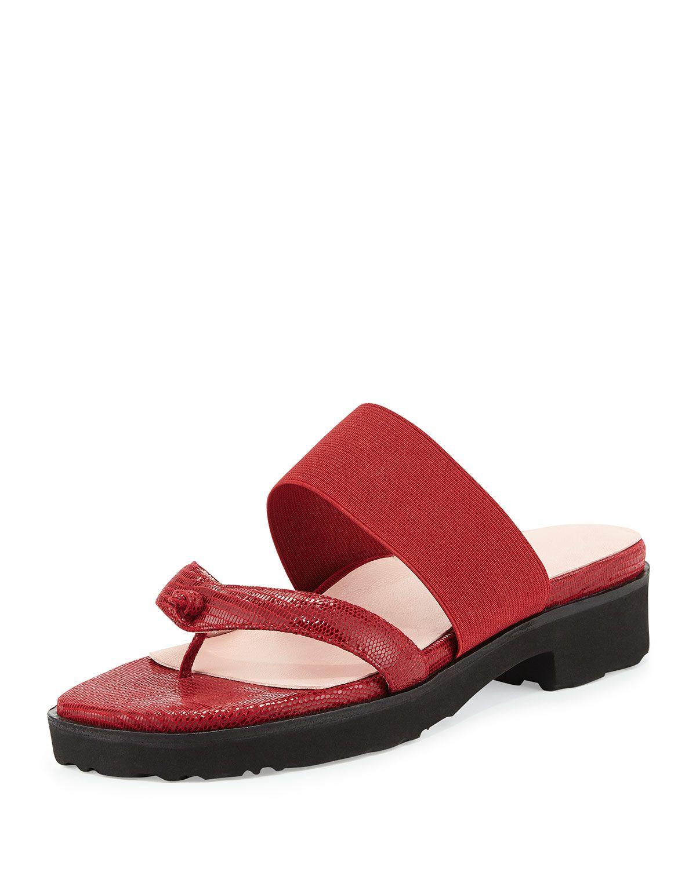 Tomm Stretch Slip-On Leather Sandal, Valentine Red