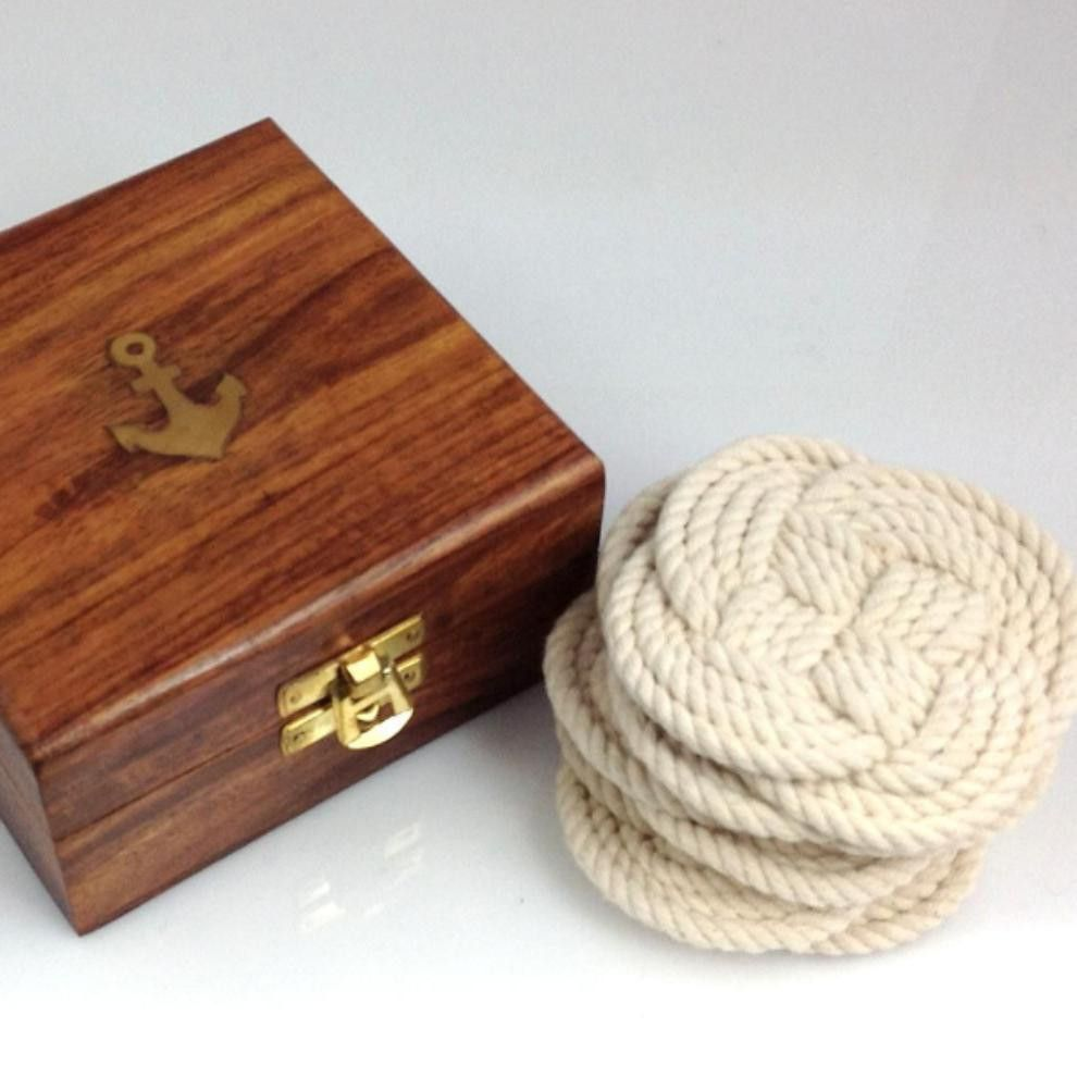 Nautical gifts for the home - Rope Knot Coasters Nautical Gift From Pink Pineapple