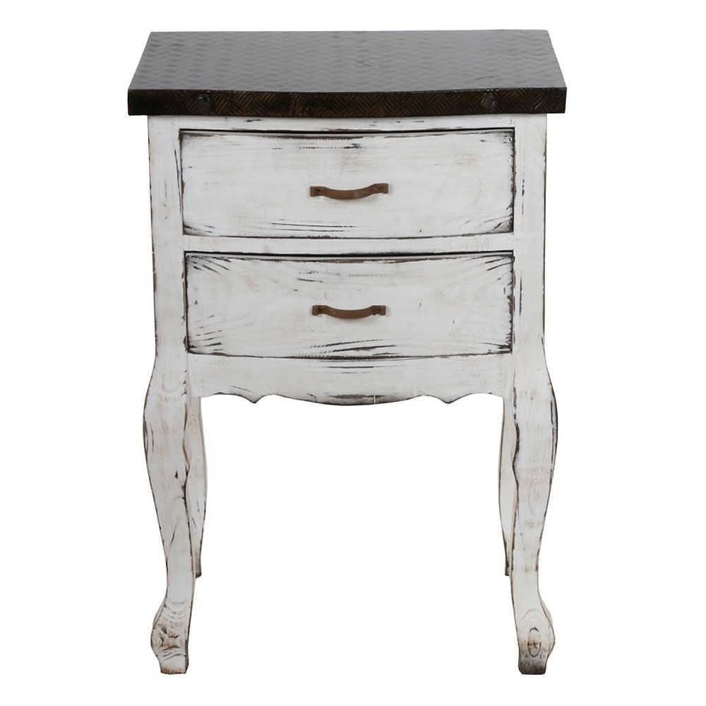 distressed side table with drawers