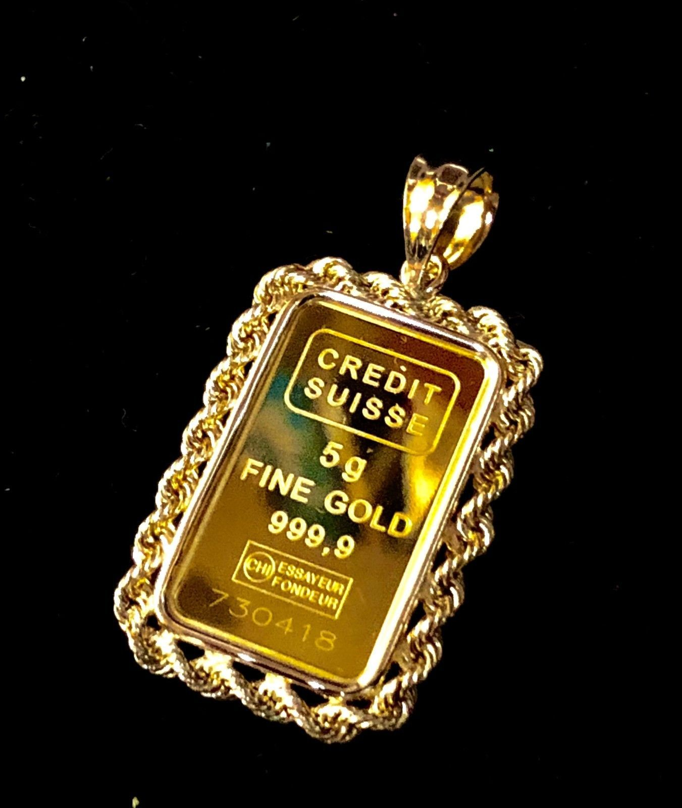 24k Fine Gold Suisse 5gr Bullion Ingot 14k Framed Charm Rope Pendant Gold Chain With Pendant Rope Pendant Gold