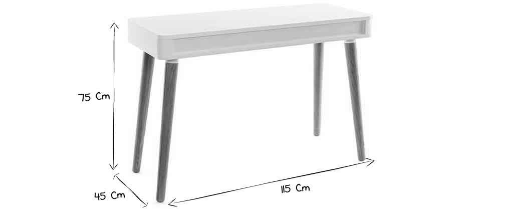 Schreibtisch Skandinavisches Design Weiss Und Holz Totem Miliboo In 2020 Schreibtisch Skandinavisch Skandinavisches Design Design