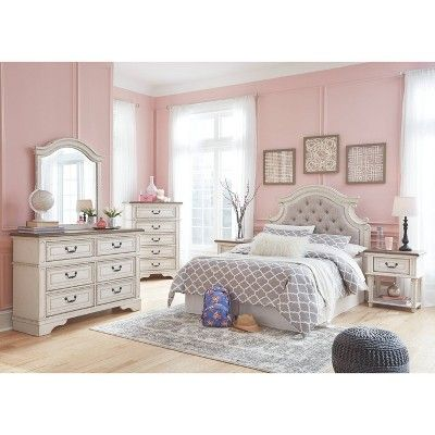 Best Realyn One Drawer Nightstand Chipped White Signature Design By Ashley Gold 5 Piece Bedroom 400 x 300