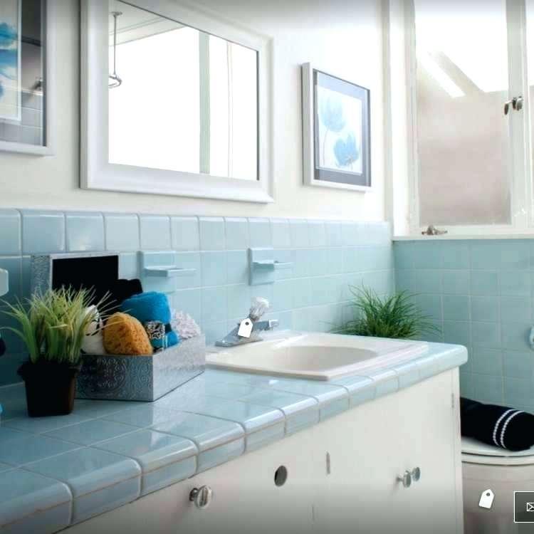 vintage blue tile bathroom design grey subway tile shower ...
