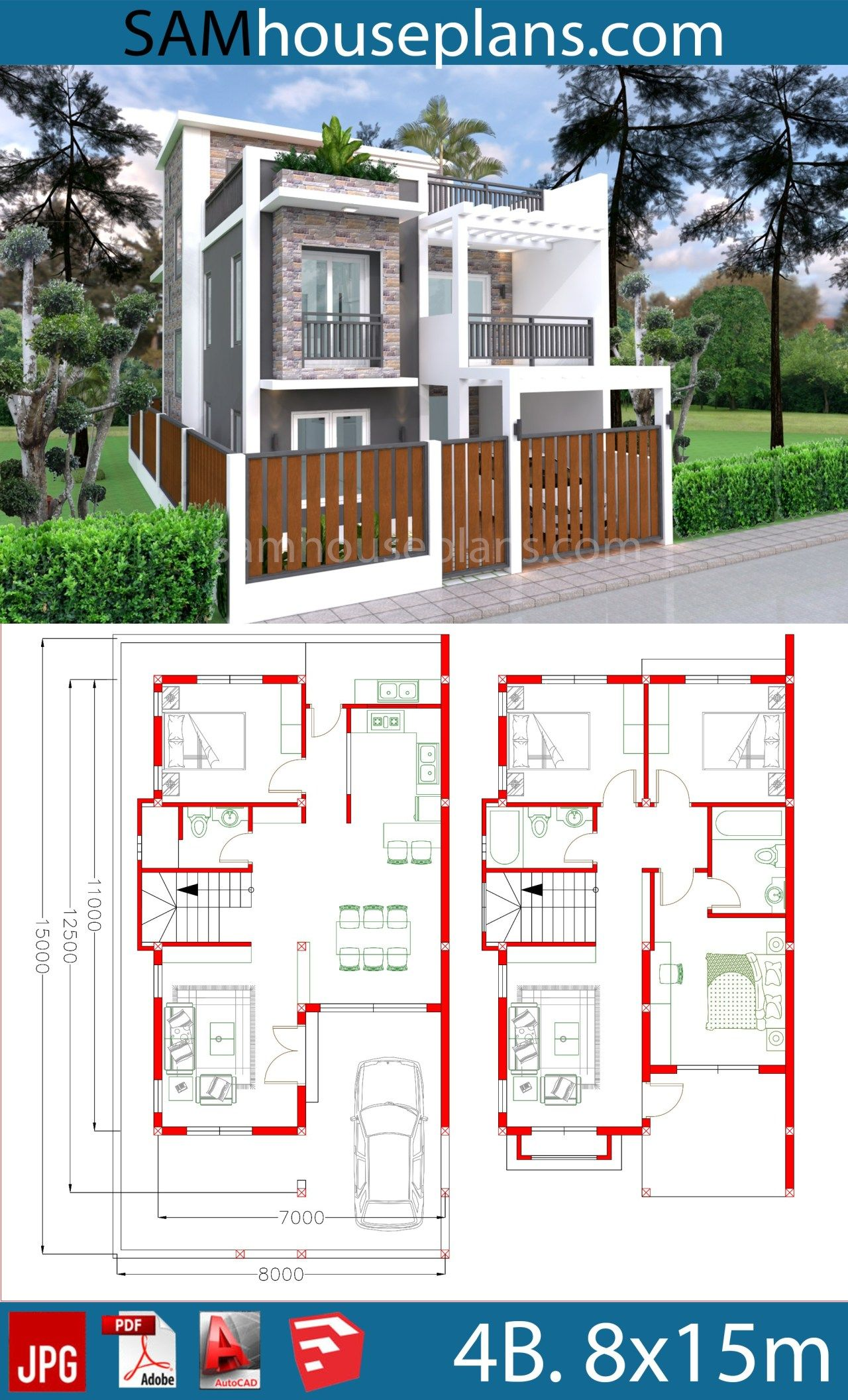 House Plans 7x11m Plot 8x15 With 4 Bedrooms Sam House Plans Architectural House Plans Model House Plan Affordable House Plans