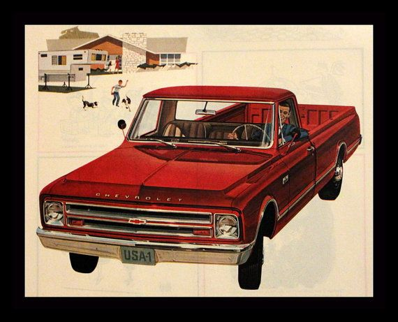 Merveilleux 1967 Chevrolet Fleetside Pickup Truck Ad   Red   Wall Art   Home Decor    Chevy   Garage   Man Cave   Retro Vintage Car U0026Truck Advertising USD) By ...
