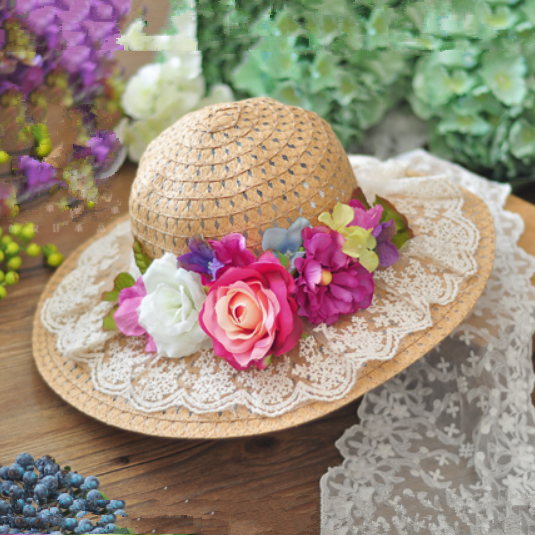 Vintage straw hats for girl lace flower decoration wide for How to decorate a hat for a tea party
