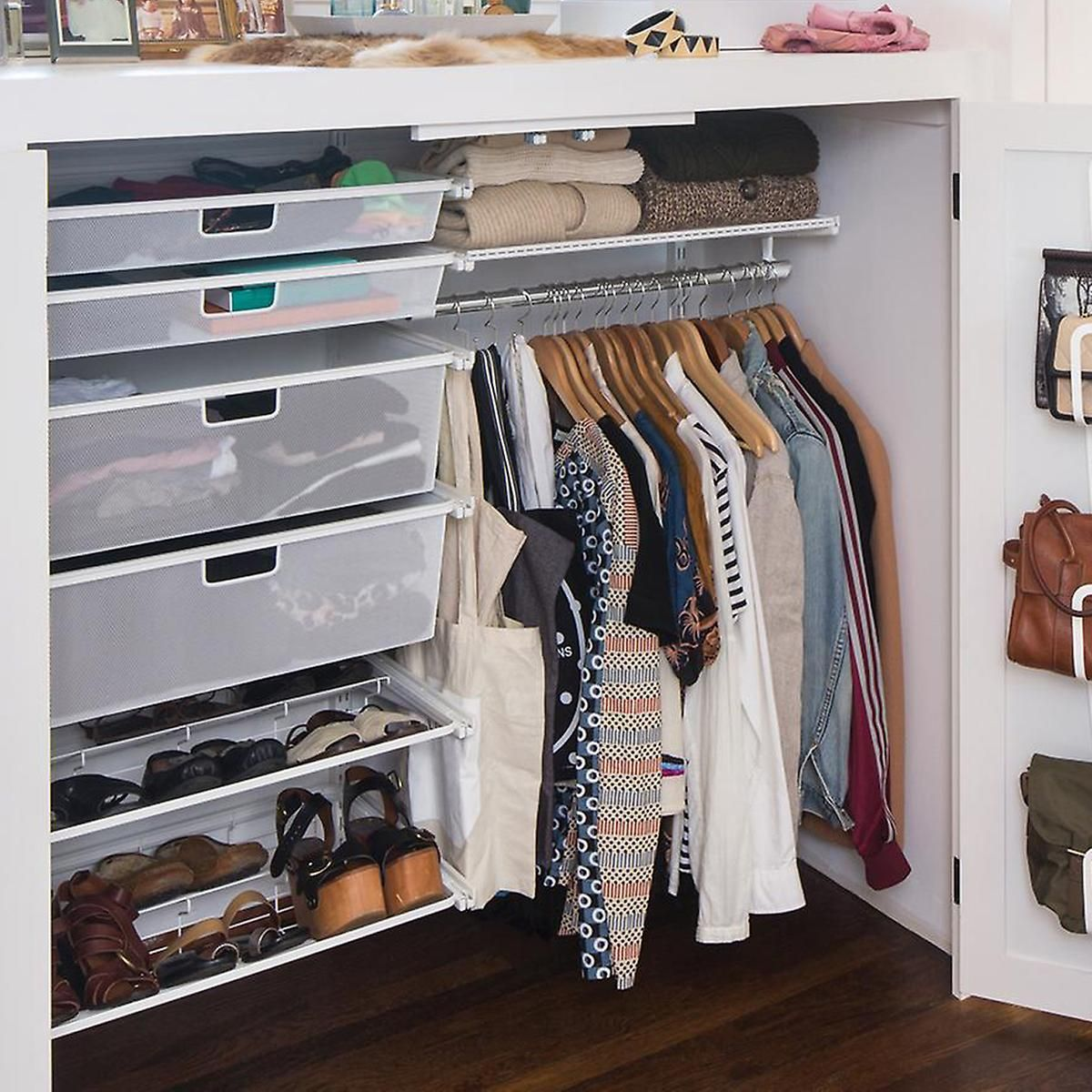 Tension Rod Between Wall And Plastic Drawers White Elfa Small Closet