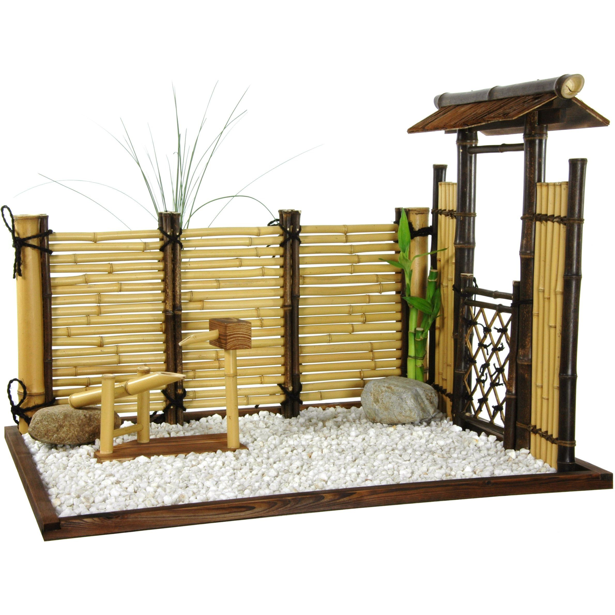 Lab, Birds and Tree Figurine Mini zen garden, Bamboo