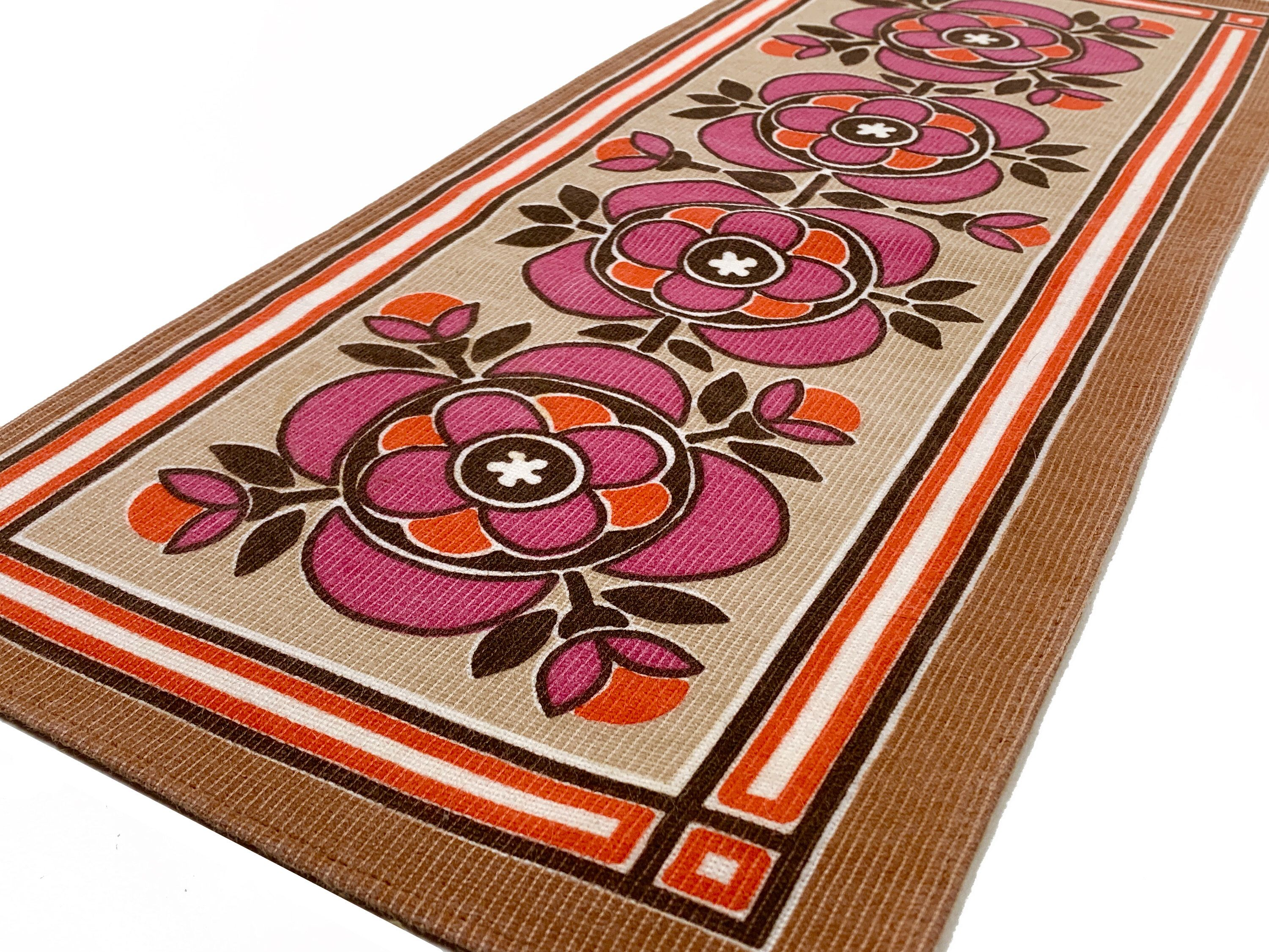 Swedish Vintage Table Runner Made In Sweden 1970s Stylized