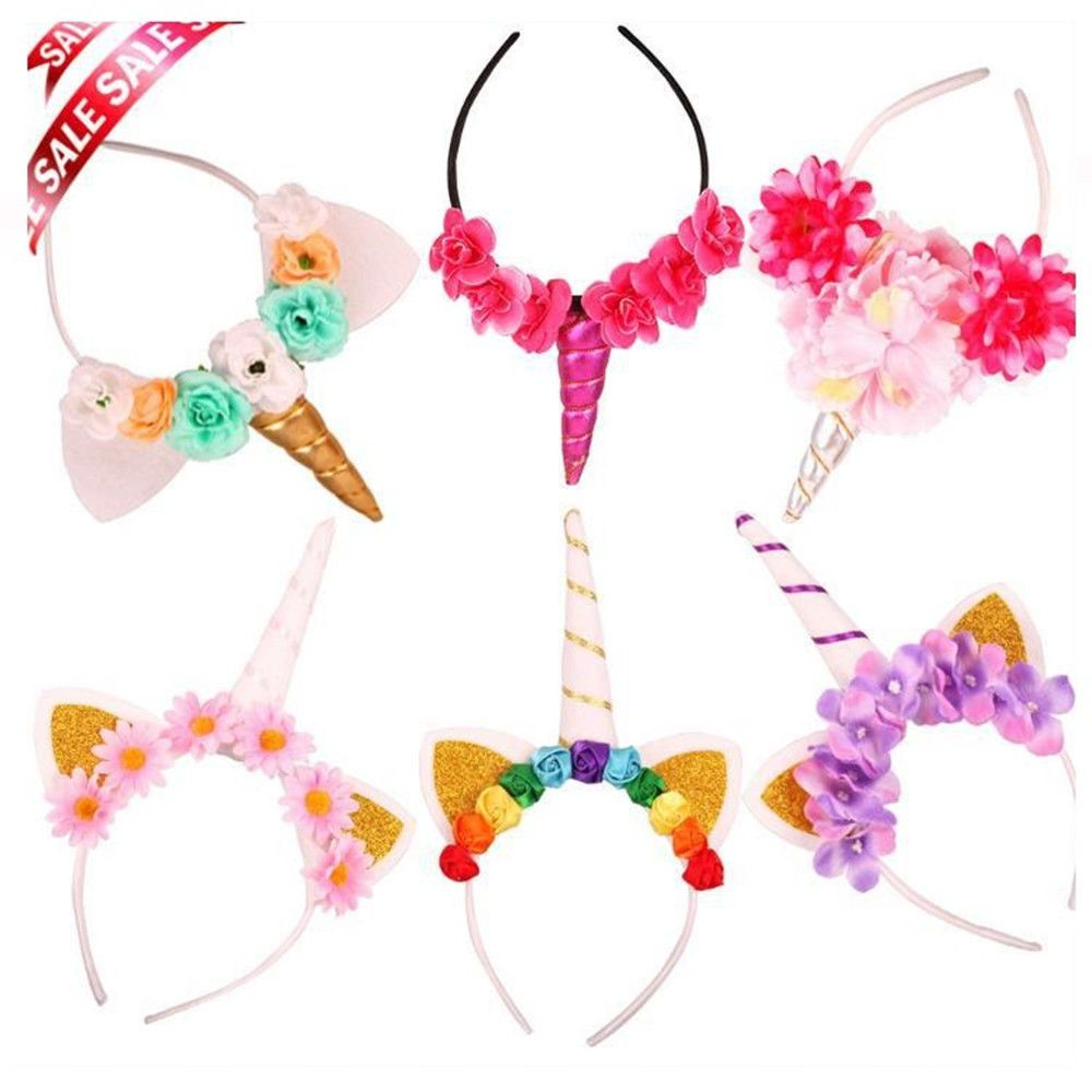 Unicorn Floral Headband Fancy Dress Adult Kids Birthday Party Hair Accessory
