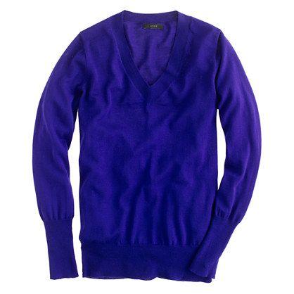 Merino V-neck sweater $80.  medium.  byzantine blue.