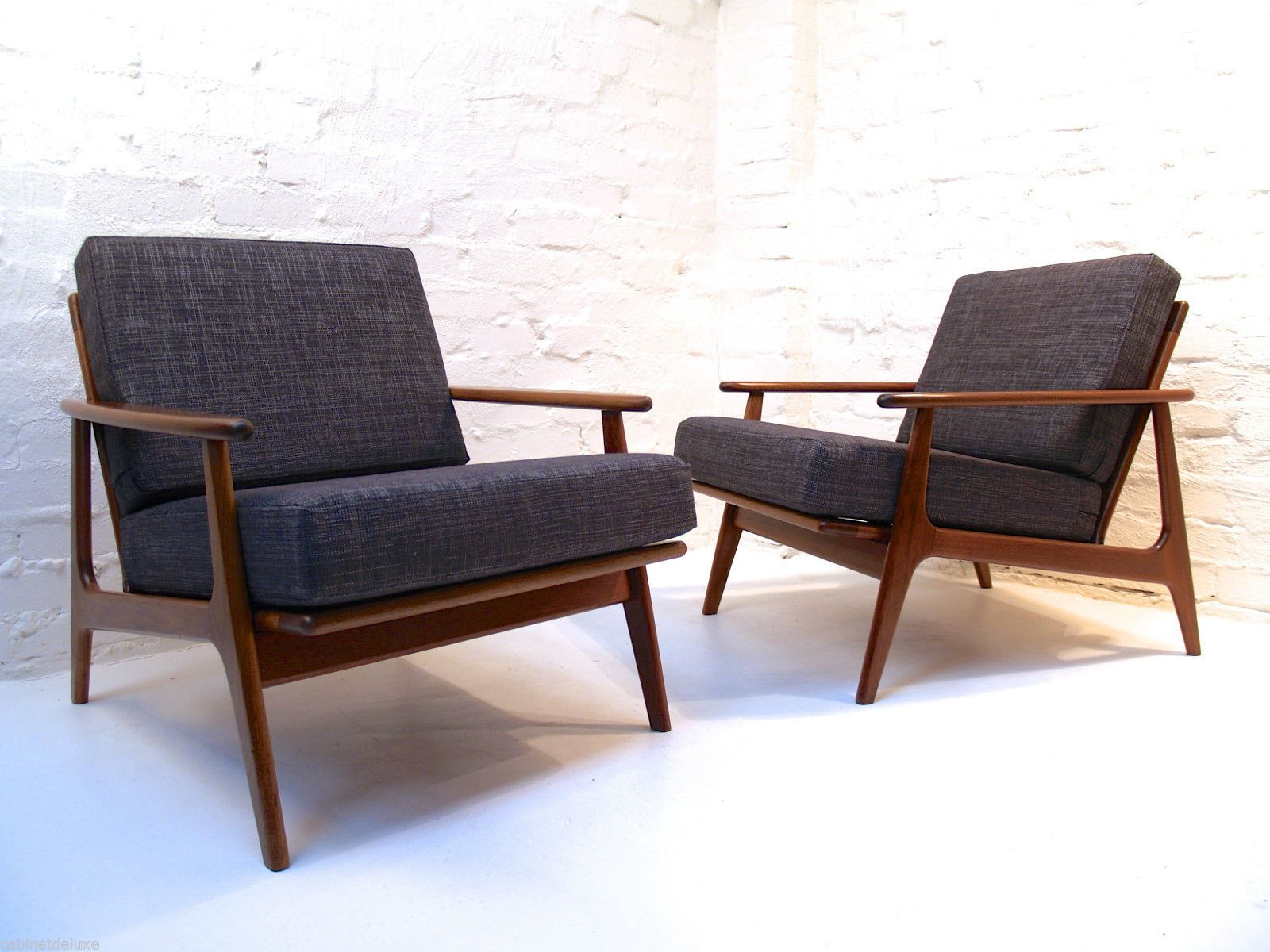 Pair of Parker Blackwood Rattan Back Lounge Chairs Sydney 1961