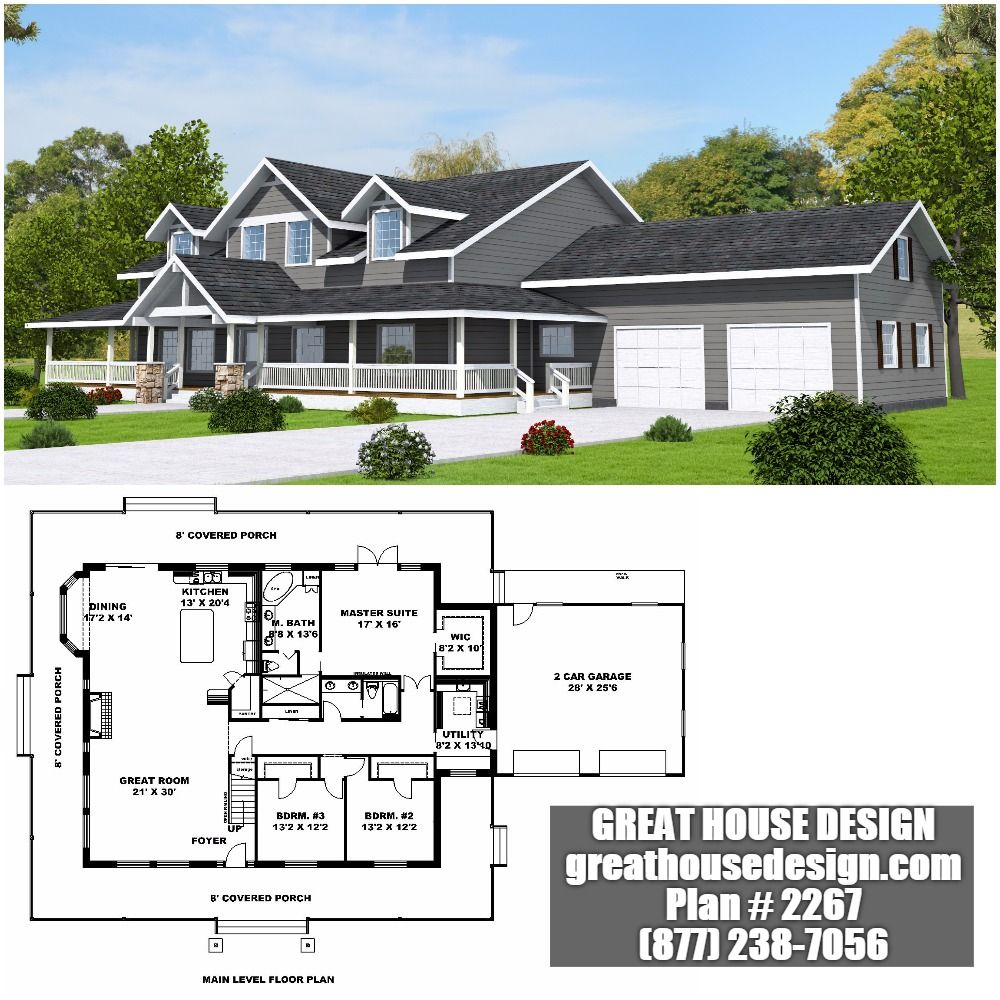 Home Plan 001 2267 Home Plan Great House Design Country House Plans House Plans Porch Plans