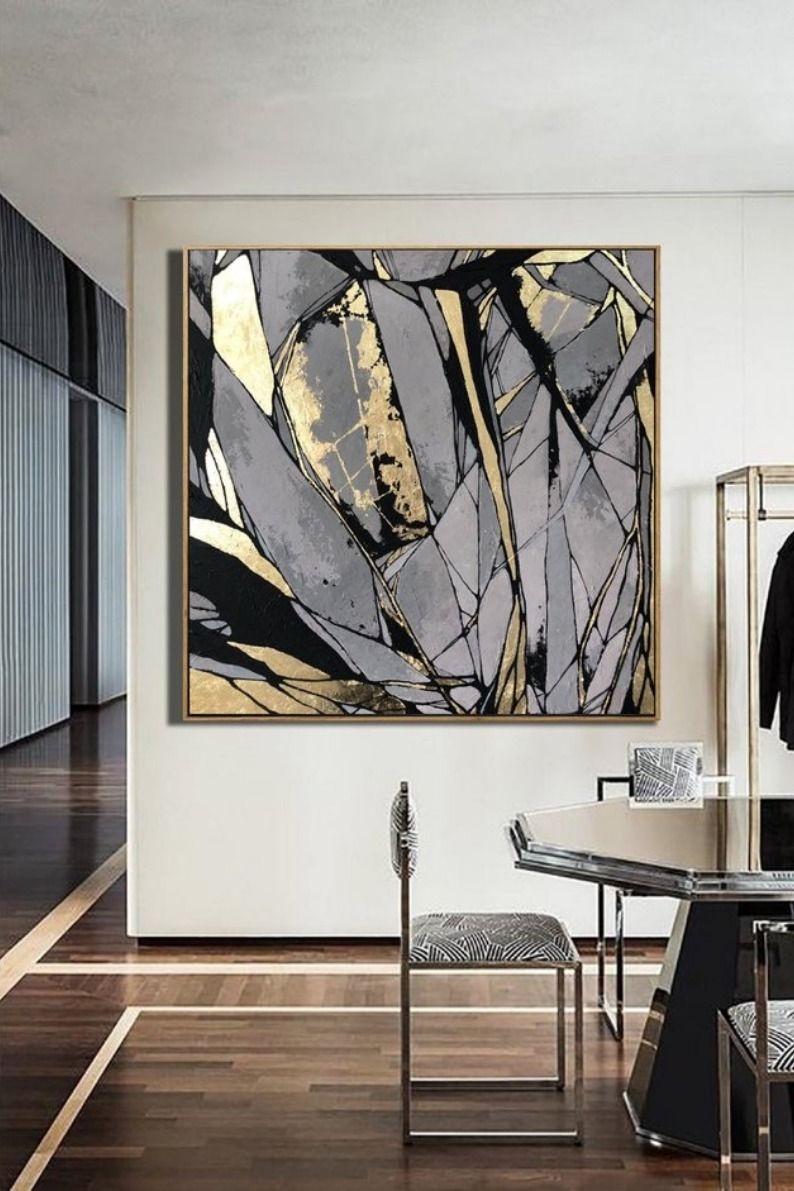 Large Abstract Painting On Canvas Gray Painting Golden Leaf