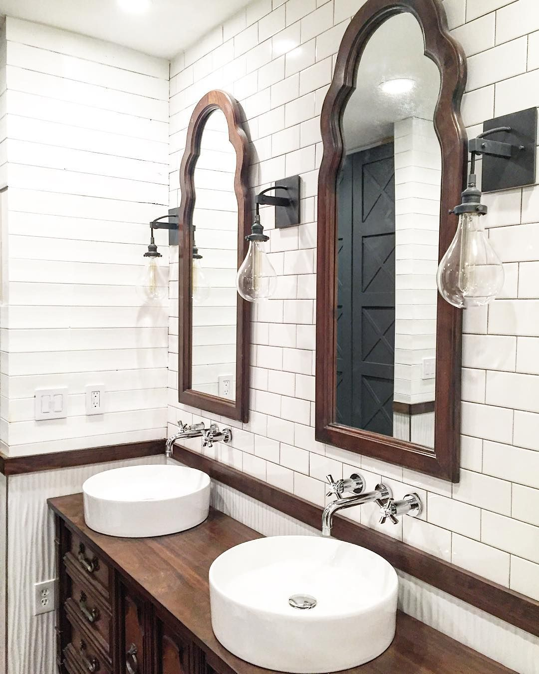 Plank walls in bathroom - Rustic Farmhouse Bathroom Design With Plank Walls And Subway Tile This Instagram Photo By