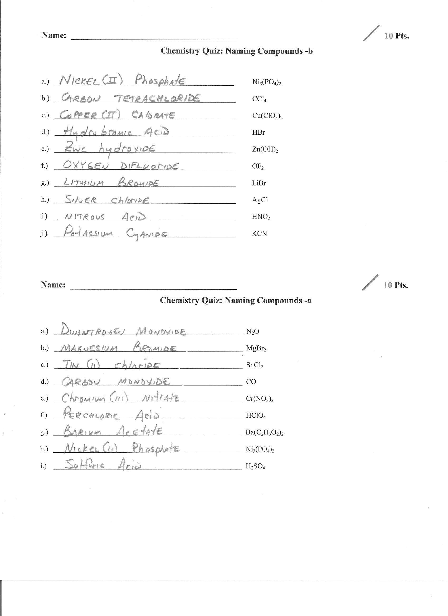 Chemical Formula Writing Worksheet Answers November
