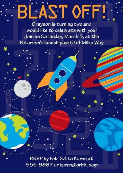 Space birthday party invitations blast off birthday for E blast templates free
