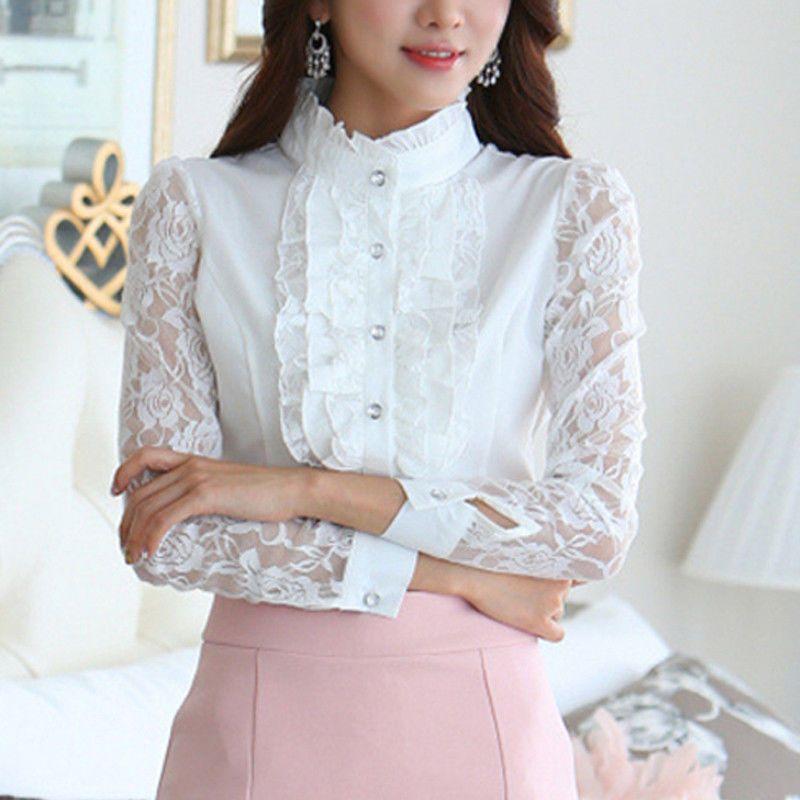 da9b3c5f8c78eb Womens Ladies Chiffon Lace Long Sleeve Frill Ruffle High Neck Tops Blouse  Shirt | eBay