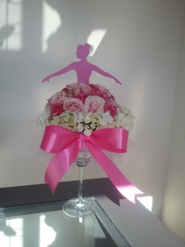 Ballerina centerpiece made with a margarita glass