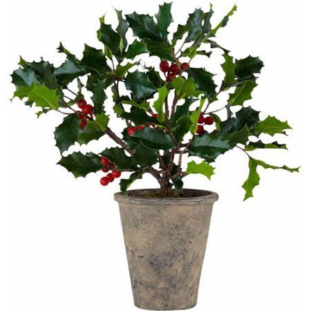 13 inch Potted Artificial Christmas Holly Plant In 35 inch Pot