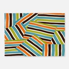Retro Cool Chopped Stripes 5'x7'Area Rug for