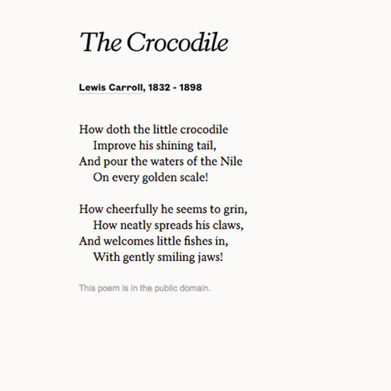 The Crocodile By Lewis Carroll Read More Poems At Poets