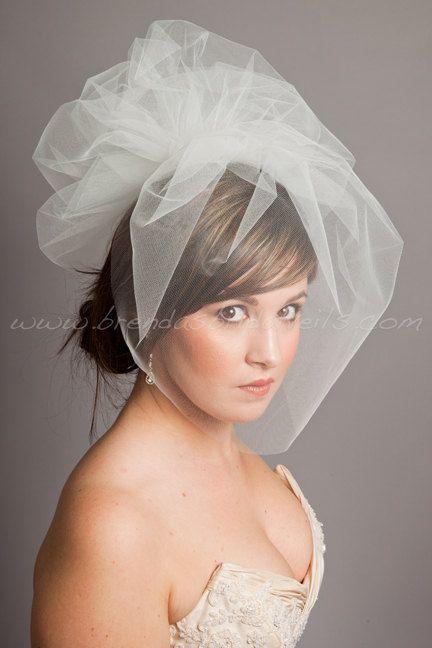 Illusion Tulle 17 Bridal Birdcage Veil Detachable Pouf White Diamond