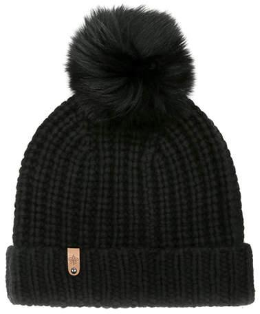 Mackage Womens Beanie Hat with Fur Pom