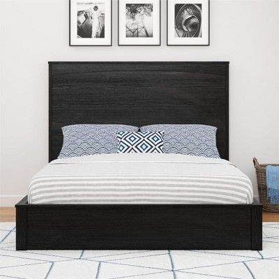 Crescent Point Full Sized Bed And Headboard Black Oak Ameriwood Home Furnishings Products Bed Black Headboard Bed Furniture