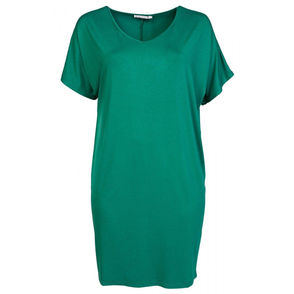 Oversize kjole i mørkegrøn viskose jersey