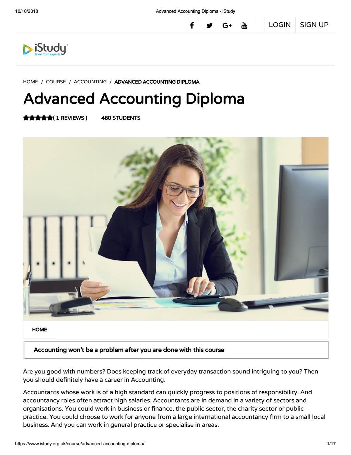 Advanced Accounting Diploma istudy Accounting, Diploma