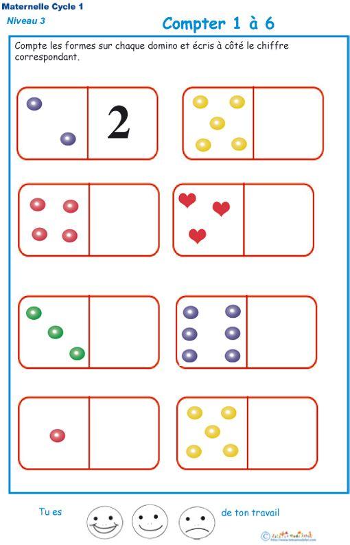 Très Exercice 3 pour compter avec les dominos Maternelle GS  SX15