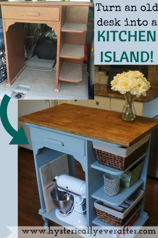 Diy Turn A Desk Into Kitchen Island So Easy Inexpensive Smart Www Hystericallyeverafter