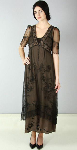 New Vintage Titanic Tea Party Dress in Black/Coco by Nataya | Kleider