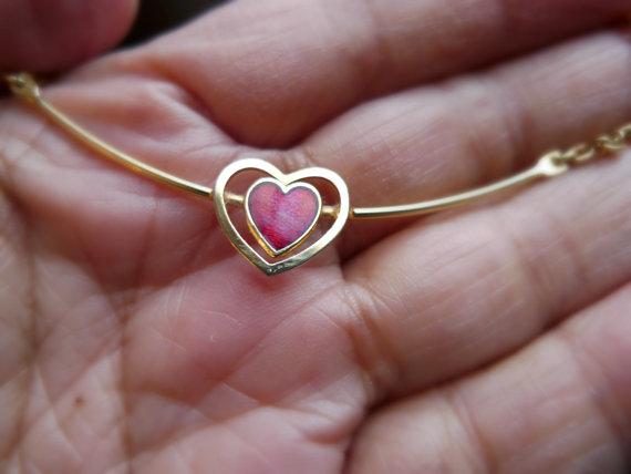 enamel heart necklace by june22 on Etsy