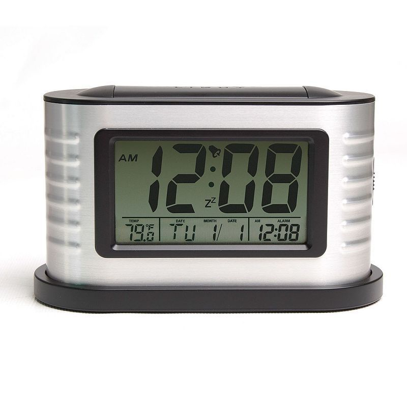 Crosley Deco Digital Alarm Clock, Silver