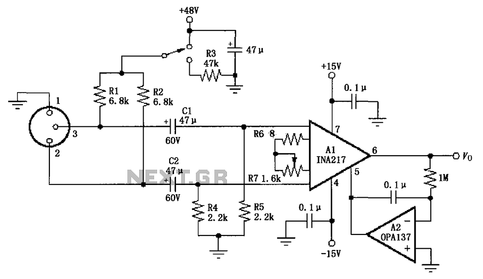 image result for circuit diagram of mic preamp